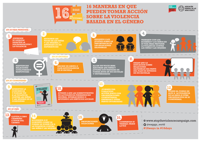 16 Ways You Can Take Action Poster - 16 Days of Activism 2016 SPANISH