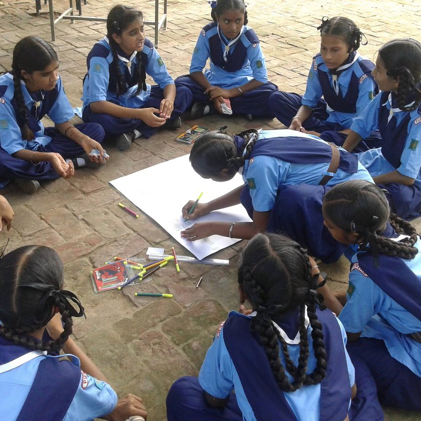2015 India Surf Smart Programme Internet Safety Group Session Training Activitysitting in circle