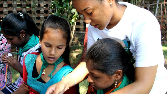 2015 Sangam World Centre Teaching girls