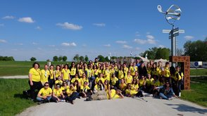 Dream the Way 2018 Volunteers yellow shirt polo t-shirt group picture smiling fun nature
