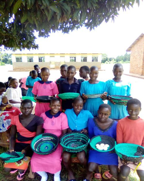 Girl Guides in Uganda use polythene bags to create their baskets