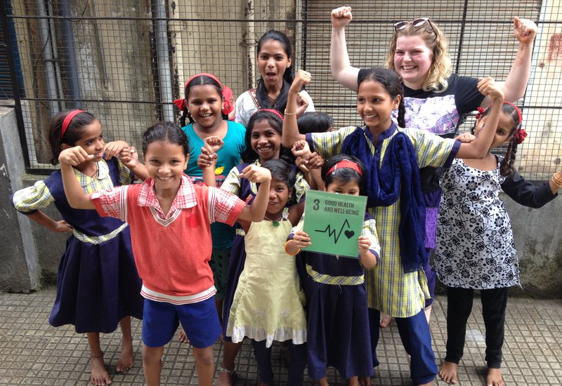 082016 India IDG 2016 group of girls with Goal