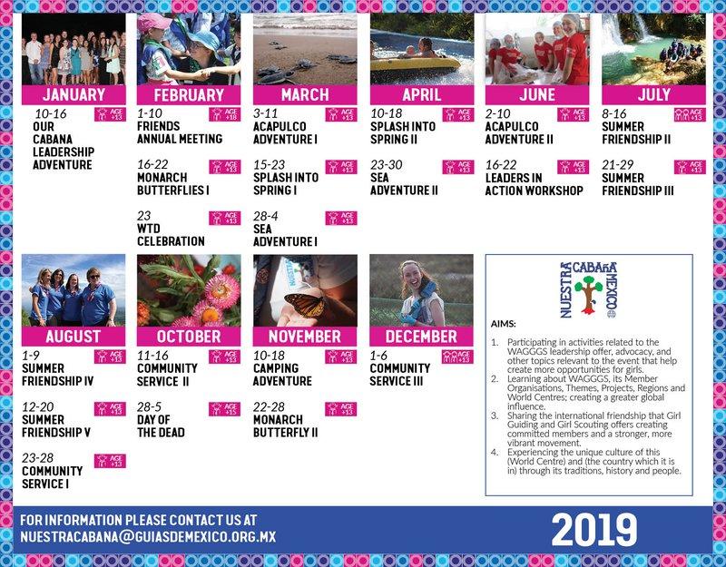 Our Cabana 2019 Events Calendar