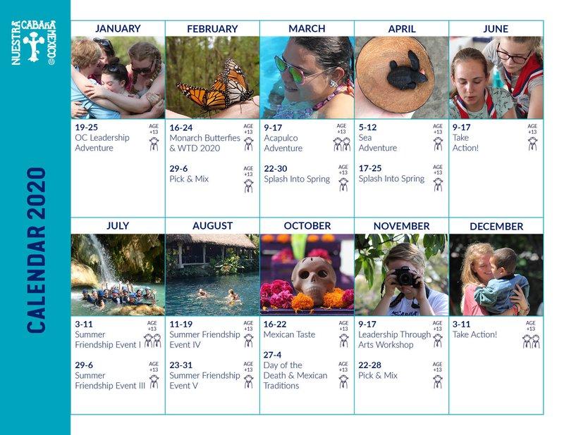 Our Cabana Calendar Events 2020 EN