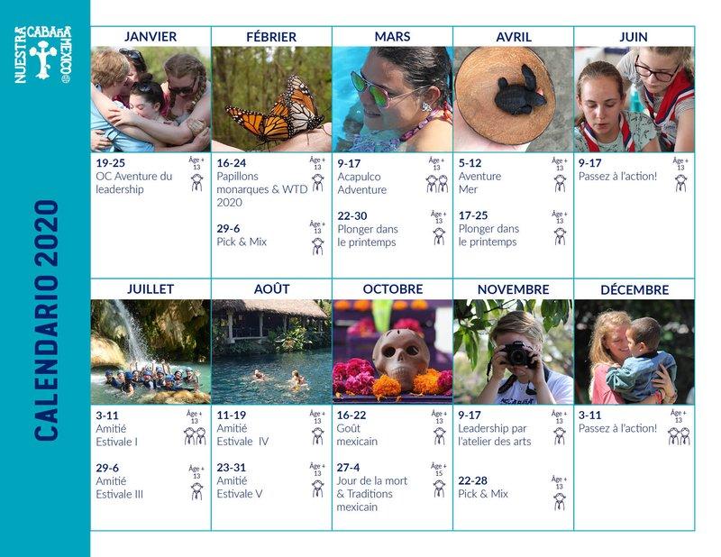 Our Cabana Calendar Events 2020 FR