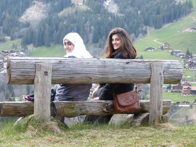 032015 Our Chalet Girls sitting on bench