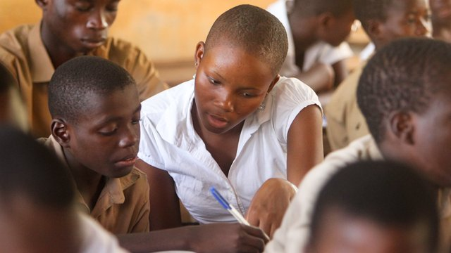 Girls learning about violence in Togo