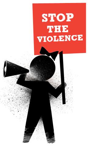 2013 Stop the Violence girl with megaphone