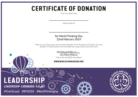 World Thinking Day 2019 Certificate of Donation