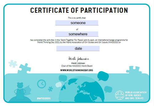 WTD 2021 certificate