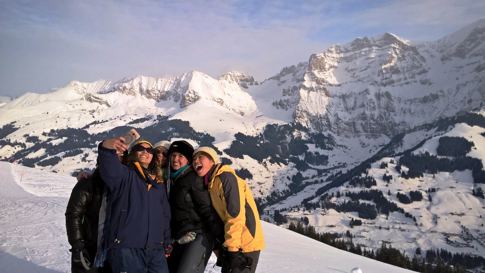 2018 02 _ Switzerland _ group taking selfie in the mountains