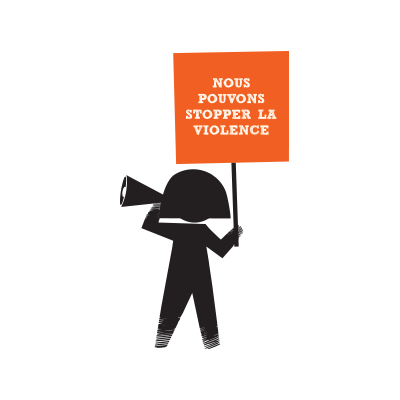 Girl with Stop the violence placard