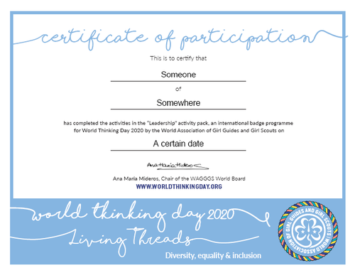 world thinking day 2020 certificate of participation