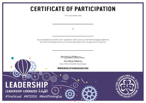 World Thinking Day 2019 certificate